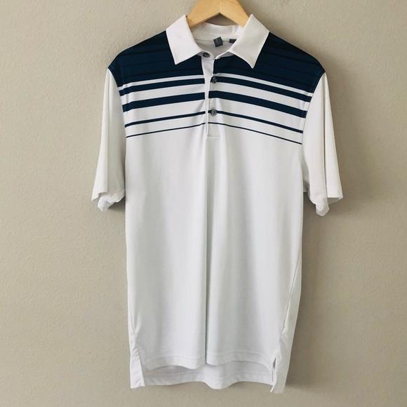 Ashworth Mens Golf Polo Medium White Blue Stripe
